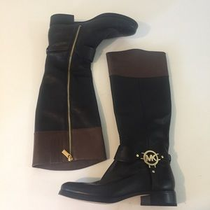 Michael Kors Black Brown Leather Gold Boots